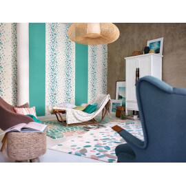 Tapis turquoise en acrylique d'intérieur Petals Esprit Home