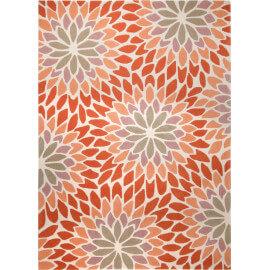 Tapis moderne à motifs fleuris orange Lotus Esprit Home