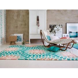 Tapis moderne à motifs fleuris turquoise Lotus Esprit Home