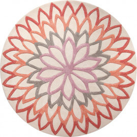 Tapis rond floral orange Lotus Flower Esprit Home