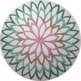 Tapis rond floral turquoise Lotus Flower Esprit Home