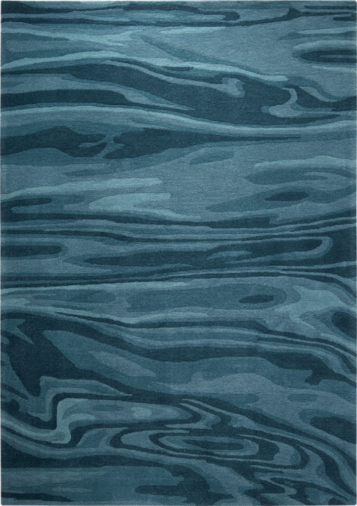 Tapis bleu tufté main moderne Deep Water Esprit Home