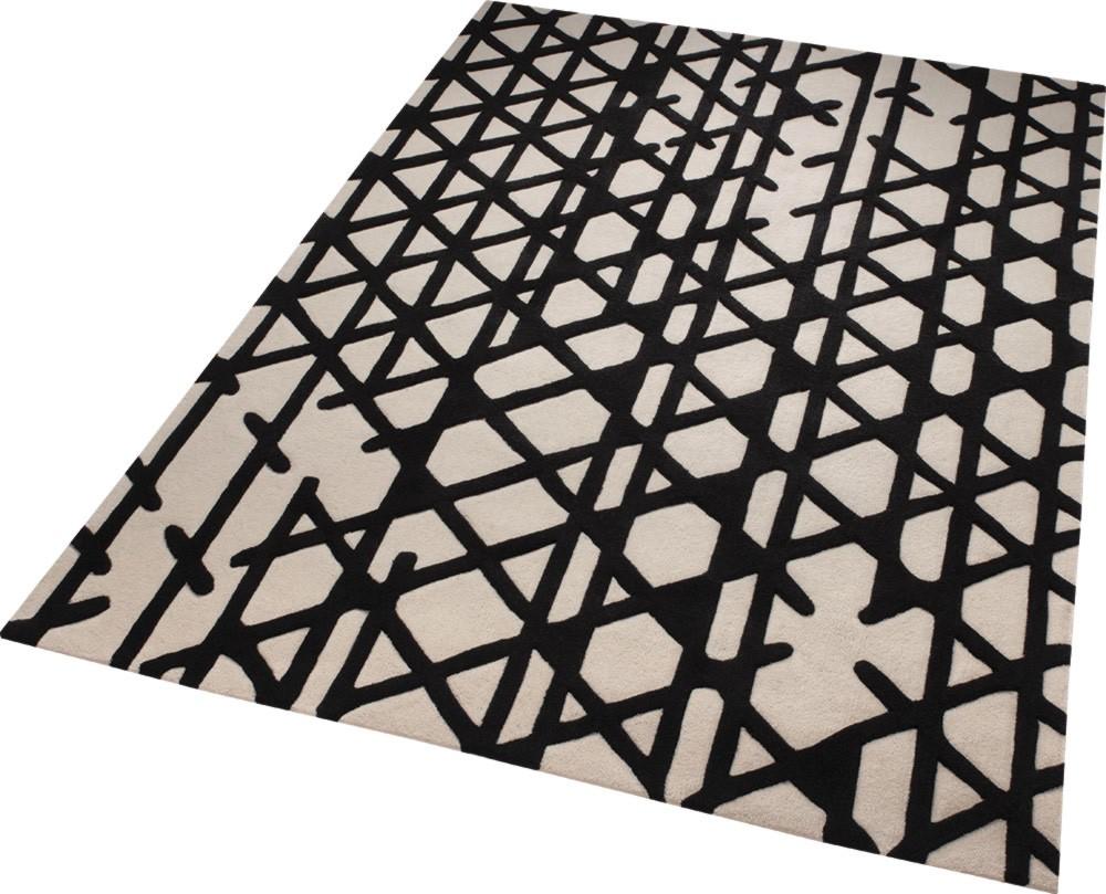 tapis noir et blanc g om trique artisan pop esprit home. Black Bedroom Furniture Sets. Home Design Ideas