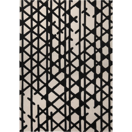 tapis noir et blanc g om trique artisan pop esprit home. Black Bedroom Furniture Sets. Home Design Ideas