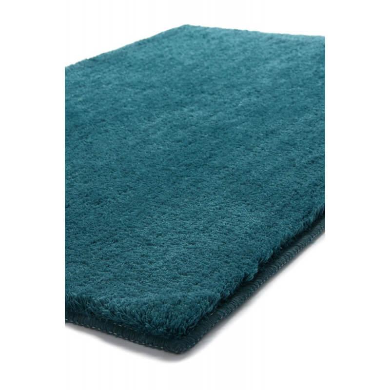 Tapis en polyester turquoise pour salle de bain softy esprit home for Tapis pour salle de bain