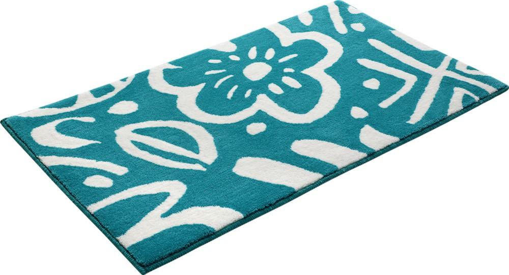 tapis floral pour salle de bain turquoise cool flower. Black Bedroom Furniture Sets. Home Design Ideas