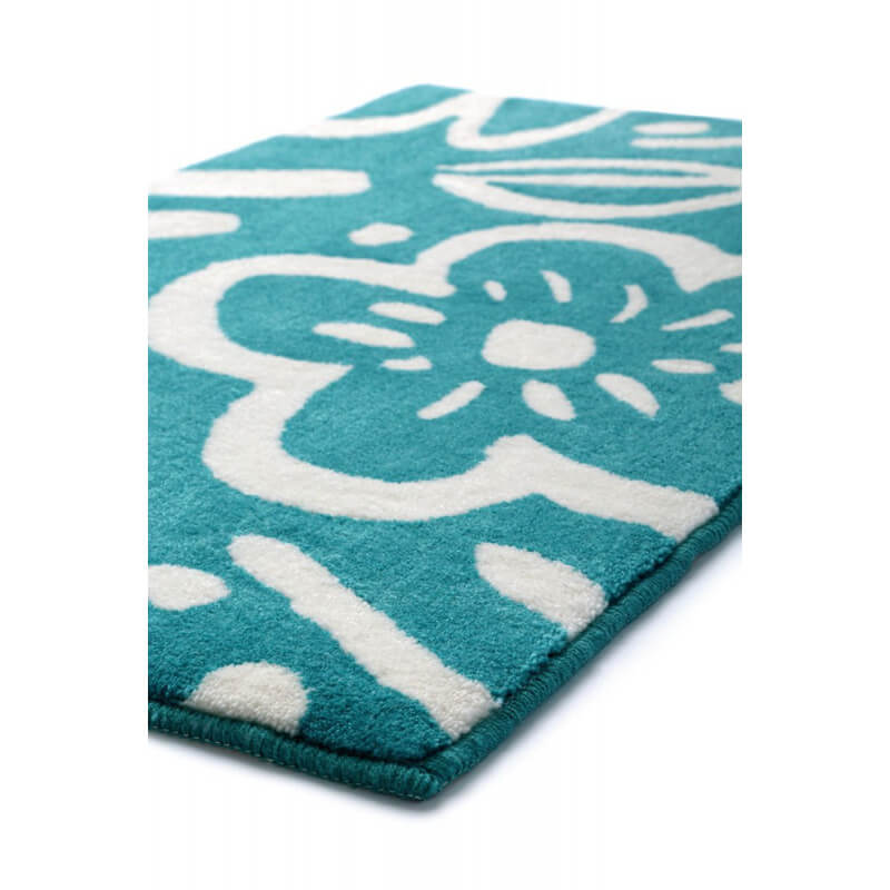 tapis floral pour salle de bain turquoise cool flower esprit home. Black Bedroom Furniture Sets. Home Design Ideas