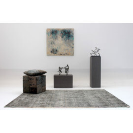Tapis en laine et bambou vintage anthracite Bamboo