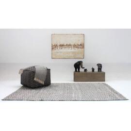 Tapis gris et blanc plat ethnique pour salon Labyrinth