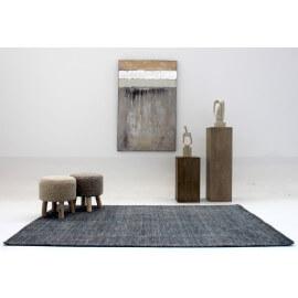 Tapis rectangulaire en laine anthracite Maori