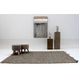 Tapis Vivabita en jute uni gris Marrakech