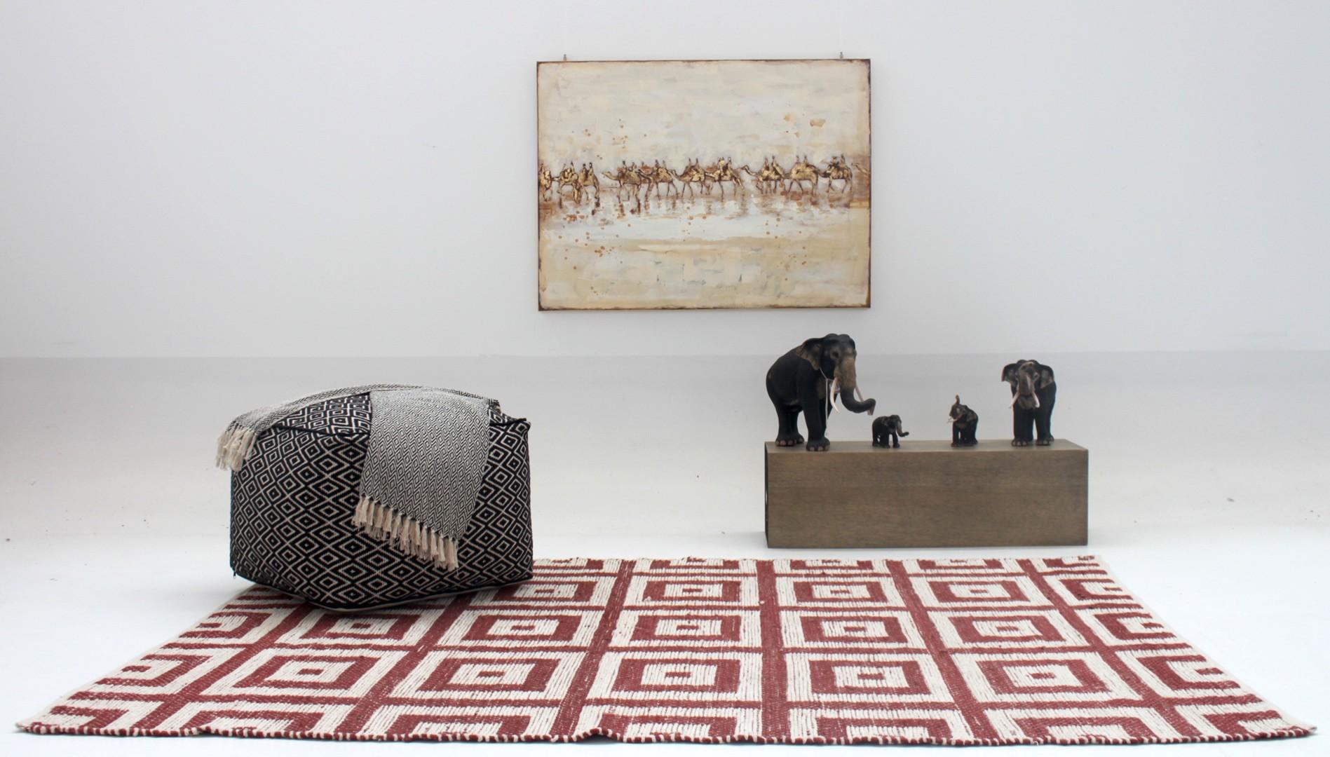 Tapis Salon Couleur Rouille tapis d'intérieur rouille et blanc tissé main tiles