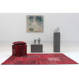 Tapis patchwork vintage rouge en coton Topaz