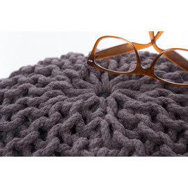 Pouf tricot en coton fait main anthracite Ulysse