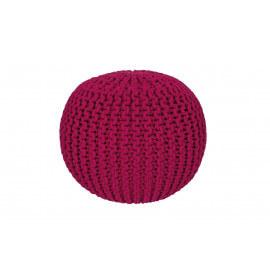 Pouf tricot en coton fait main rose Ulysse