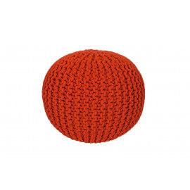 Pouf tricot en coton fait main orange Ulysse
