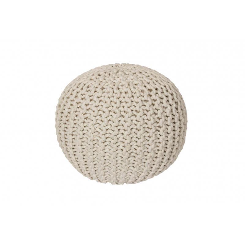 pouf tricot en coton fait main cr me ulysse. Black Bedroom Furniture Sets. Home Design Ideas