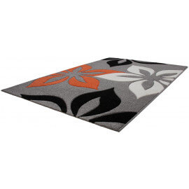 Tapis contemporain et floral effet 3D orange Anita