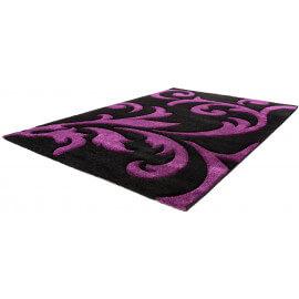 Tapis contemporain noir et violet Elegant I