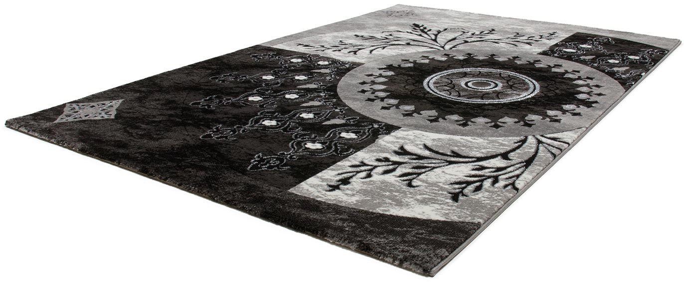 tapis vintage noir de salle manger avec lurex florine. Black Bedroom Furniture Sets. Home Design Ideas