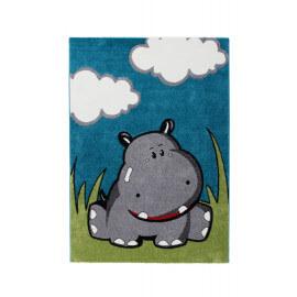 Tapis bleu pour bébé aux velours fins Hippo