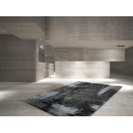 Tapis abstrait rectangulaire pour salon anthracite Rialto