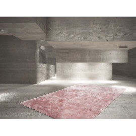 Tapis rose en polyester moelleux Calypso
