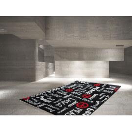 Tapis noir pour adolescent design Peace