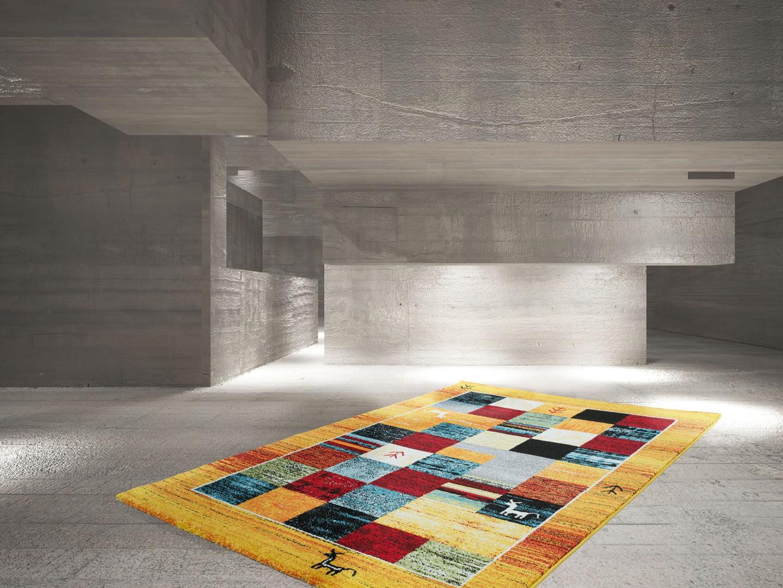 tapis ethnique jaune en polypropyl ne attar. Black Bedroom Furniture Sets. Home Design Ideas