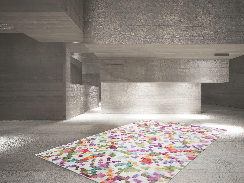 Tapis en laine et viscose multicolore effet 3d belt - Tapis laine multicolore ...
