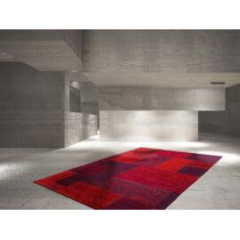 Tapis plat rouge patchwork en polyester Indy
