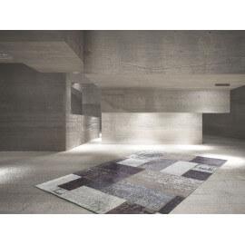 Tapis plat argenté patchwork en polyester Indy