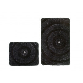 Set de tapis de bain et toilette brillant noir lavable en machine Double Kee