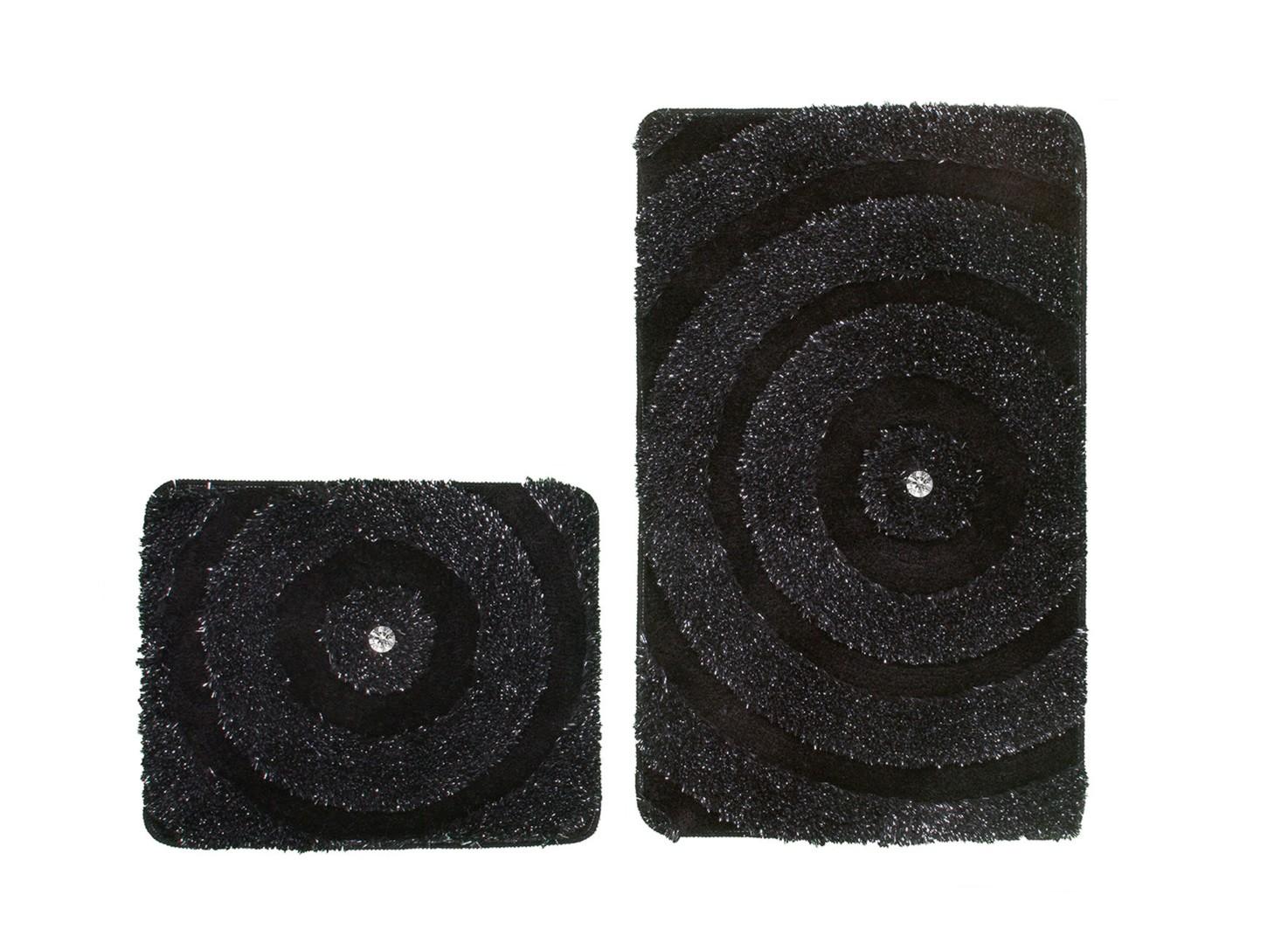 set de tapis de bain et toilette brillant noir lavable en. Black Bedroom Furniture Sets. Home Design Ideas