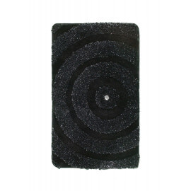 Tapis de bain brillant noir lavable en machine Kee