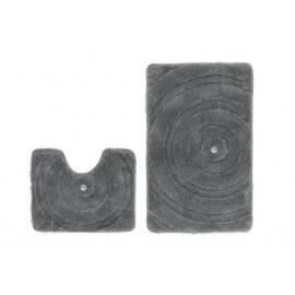 Set de tapis de bain et toilette brillant gris lavable en machine Double Kee