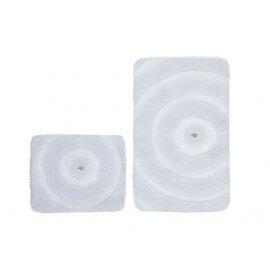 Set de tapis de bain et toilette brillant blanc lavable en machine Double Kee