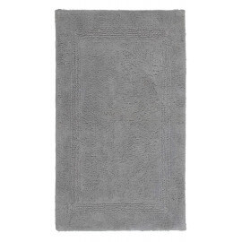 Tapis de salle de bain argenté en coton Stava