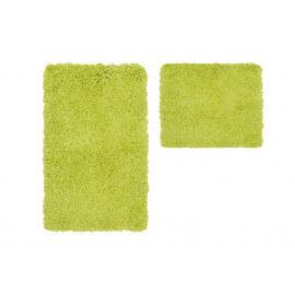Set de tapis de toilette et bain à longues mèches vert Double Cesar