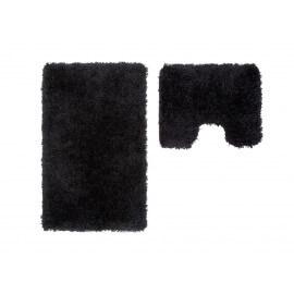 Set de tapis de toilette et bain à longues mèches noir Double Cesar