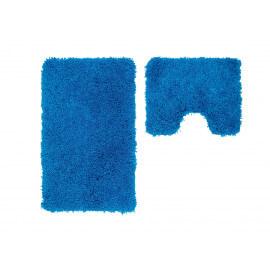 Set de tapis de toilette et bain à longues mèches bleu Double Cesar