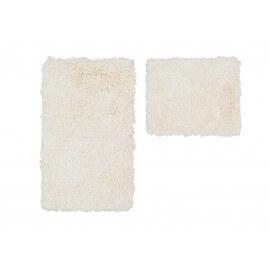 Set de tapis de toilette et bain à longues mèches ivoire Double Cesar