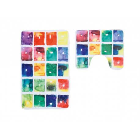 Ensemble de tapis de toilette et bain multicolore en for Tapis salle de bain multicolore