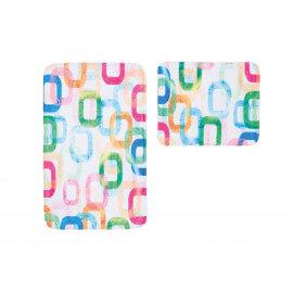 Ensemble de tapis de toilette et bain multicolore en polyester Boreal