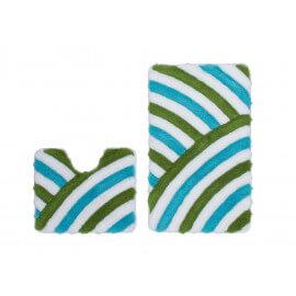 Set de tapis de wc et bain tufté turquoise lavable en machine Double Toundra