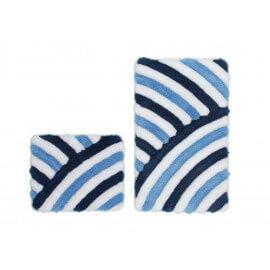 Set de tapis de wc et bain tufté bleu lavable en machine Double Toundra