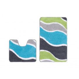 Ensemble de tapis de douche et toilette en polyester doux turquoise Double Riviera