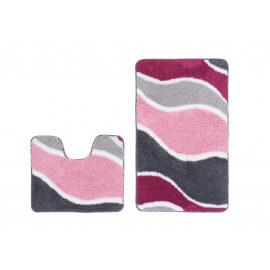 Ensemble de tapis de douche et toilette en polyester doux rose Double Riviera