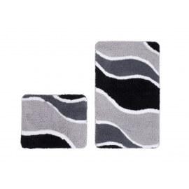 Ensemble de tapis de douche et toilette en polyester doux argenté Double Riviera