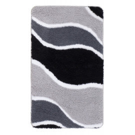 Tapis de douche en polyester doux argenté Riviera